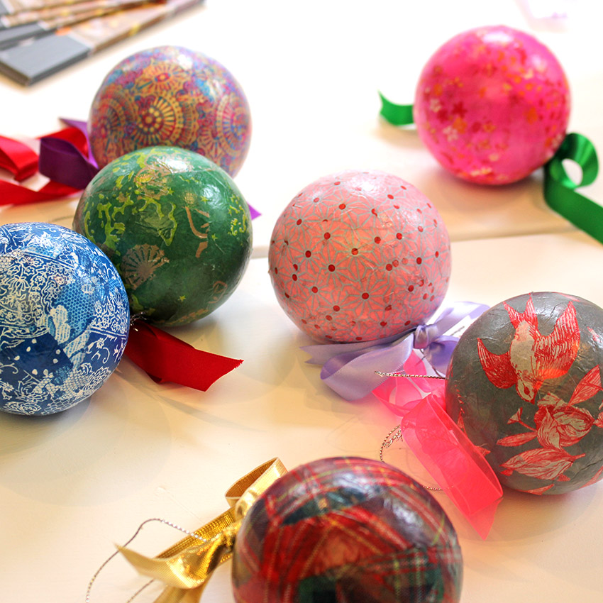 christmas baubles made from paper